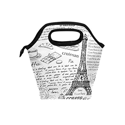 Lunch Bag Eifel Tower English Alphabet Canvas Lunchbox Tote Cooler warm Pouch For Travel School Office