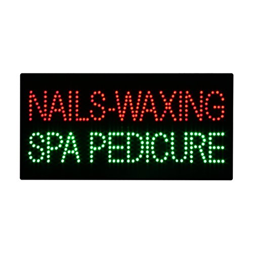 LED Nails Waxing Spa Pedicure Open Light Sign Super Bright Electric Advertising Display Board for Message Business Shop Store Window Bedroom 24 x 12 inches ()