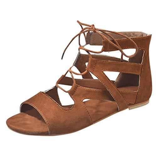 Sandales Xmiral Respirable Zipper Plage Ouverte Femme Plane Chaussures Mode Rome Marron Bx4xaPwq