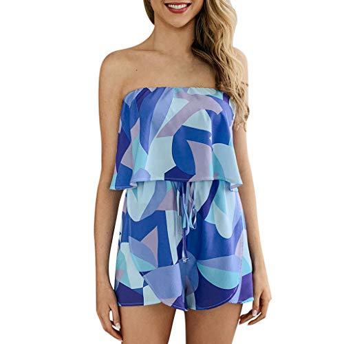 (Aniywn Women Tube Top Sleeveless Jumpsuit Off Shoulder Rompers Sleeveless Short Printed Jumpsuits Blue)