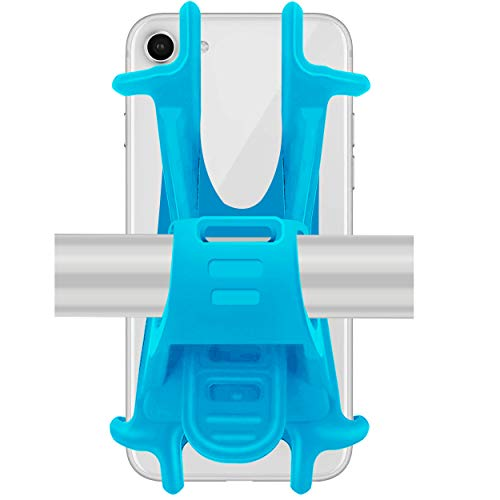 Ailun Bike Silicone Strap Phone Mount Holder,Universal Adjustable Bicycle Motorcycle Handlebar Rack Compatible iPhone 8Plus/8/7Plus/7/6S,Galaxy S9/S9+,S8+/S8/S7/S6 and All Other Devices[Blue]