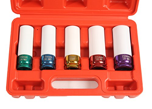 Lug Nut Socket Set, Professional Grade, Manufactured Using Quality Chromoly Steel, 5-piece Thin Wall Impact Sockets, Durable Lug Nut Remover by Shankly