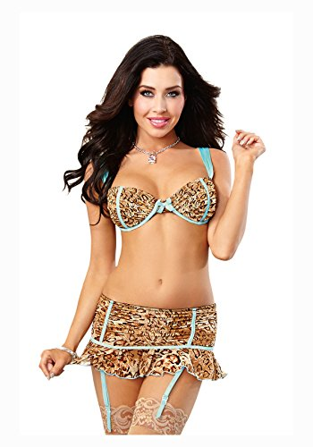 Dreamgirl Women's Sexy Exotic Mesh Bra and Flirty Garter Skirt With Contrast Satin Deatails With Matching G-String, Leopard, Small (Garter Satin Ruched)