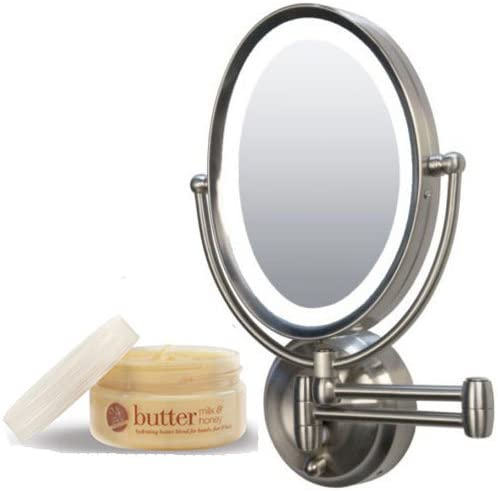 Zadro LEDOVLW410 LED Oval Wall Mounted Makeup Mirror and Cuccio Milk Honey Body Butter