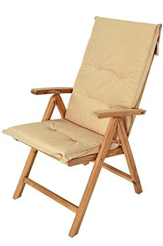 SAM® Stuhlauflage für Hochlehner, Gartenstuhl, Gartensessel, in beige