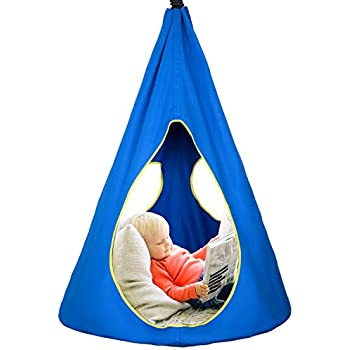 Army Green KINSPORY Waterproof Polyster Hanging Swing Hammock Chair with LED Lights Indoor Outdoor for Accommodating 2-3 Children