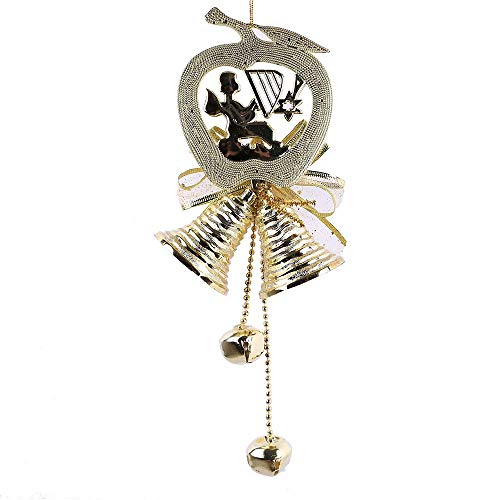 SUJING Jingle Bell Ornaments Traditional Pendant Hanging Charms Christmas Tree Ornament Holiday Decorations (Gold)