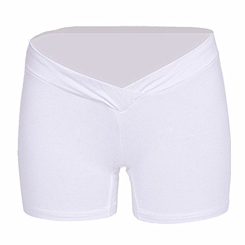 Women's Under the Bump Maternity Cradle Briefs Pregnancy Underwear Healthy Boyshort (White Healthy)