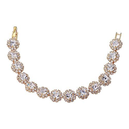 Topwholesalejewel Womens Tennis Bracelet Gold Crystal Wedding Bracelet