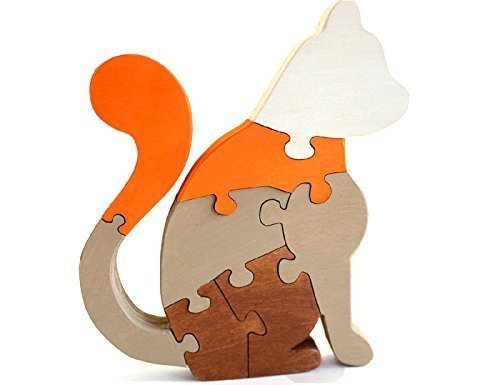 B015N8ZR6K Cat Puzzle & Decor in Brown and Orange 41TvLYocCZL