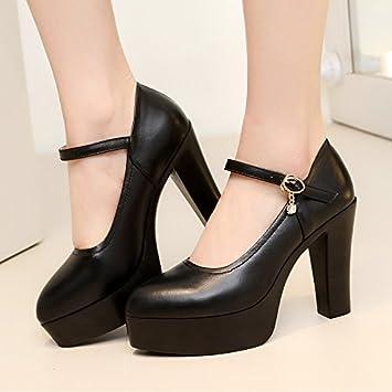 02b5e651 Corbata con ranuras para mujer gruesas con tacón alto impermeable modelo de zapatos  individuales, talones altos, 41 unidades, color negro con alto 10 cm: ...