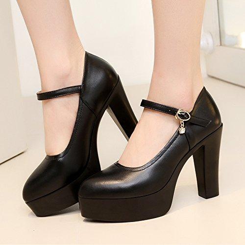 alto modello ragazza tacco scarpe asolato atmosferici alti 41 impermeabile con alta tacchi 10cm singolo scarpe donna nero Tirante spesso con nvYWqvRg