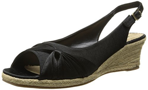 Silk Espadrille (Bella Vita Women's Sangria Too Espadrille Sandal, Black Silk, 11 N US)