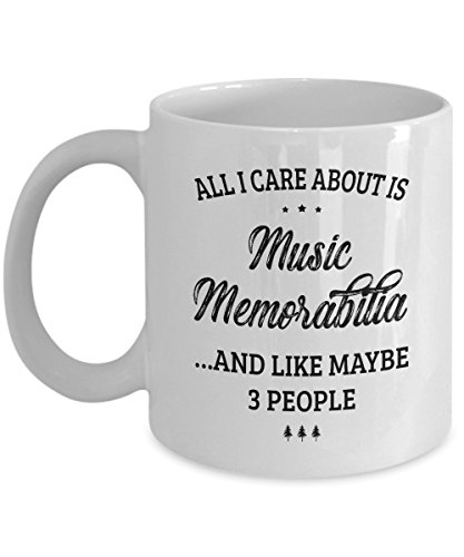 Music Memorabilia Mug - I Care And Like Maybe 3 People - Funny Novelty Ceramic Coffee & Tea Cup Cool Gifts for Men or Women with Gift Box