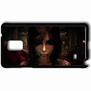 Personalized Samsung Note 4 Cell phone Case/Cover Skin Alice Madness Returns Girl Blood Hair Face Black