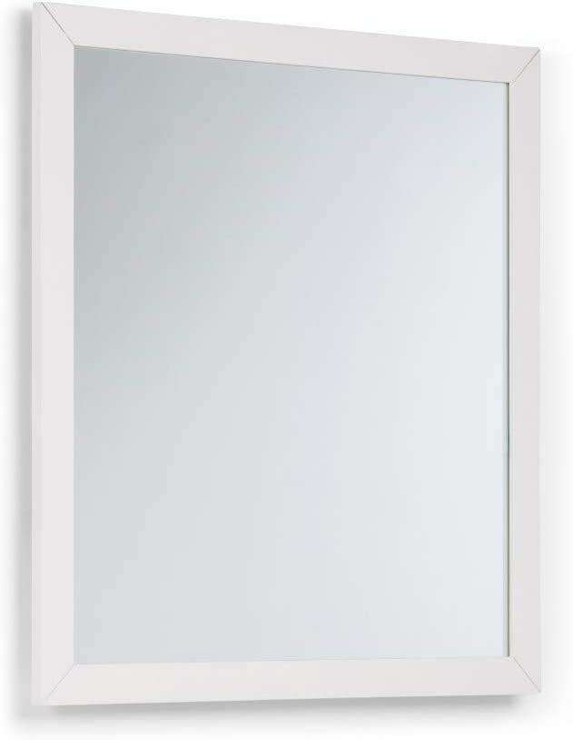 SIMPLIHOME Cape Cod 32 inch x 34 inch Bath Vanity Décor Mirror in Off White
