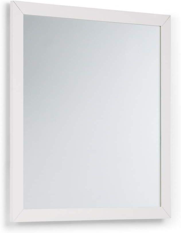 SIMPLIHOME Cape Cod 32 inch x 34 inch Bath Vanity Décor Mirror in Off White