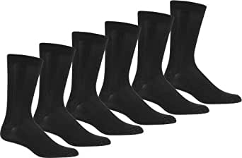 Sakkas DressRibbed6pk200S Mens Ribbed Pattern Dress Socks Value 6-Pack - Black 10-13