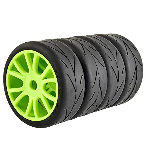 LAFEINA 1:8 Scale RC On Road Tire and Wheel Rim Set, 17mm Adapter Street Tyres for 1/8 Kyosho/Hobao/HSP/HPI RC Car Parts(Green)