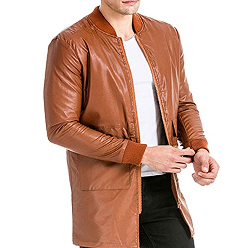 Pocket Pure Leather Leather Long Tomatoa Mens Coat Autumn Fashion Men's Leather Leather Long Overcoat Color Imitation Brown Coat Winter Fashion Leather Jacket Casual Zipper 0xvqx5