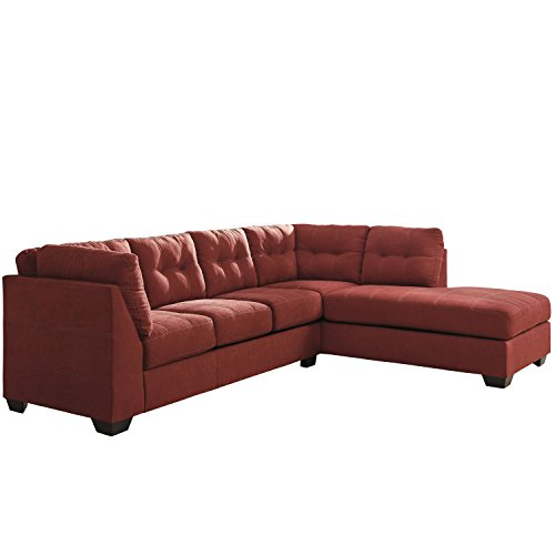 Flash Furniture Benchcraft Maier Sectional with Right Side Facing Chaise in Sienna Microfiber Metro Side Chair 2 Chairs