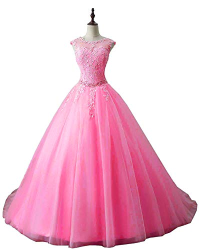 OkayBridal Women's Lace Appliques Quinceanera Dresses Hot Pink Ball Gown Long Evening Prom Dress Beading Size 2