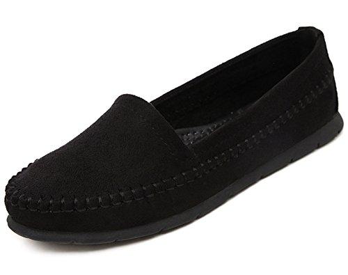 Easemax Mujeres Sweet Fashion Punta Redonda Bajo Casual Slip En Los Zapatos Planos Negro