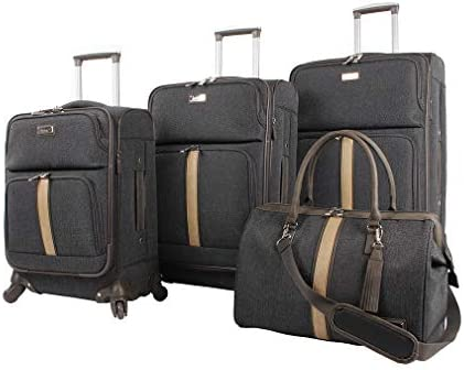 Nicole Miller Designer Luggage Collection – 4 Piece Softside Lightweight Expandable Spinner Suitcases- Travel Set includes 17 Inch Tote Bag, 20 Inch Carry On, 24 28 Inch Suitcases Cameron Black