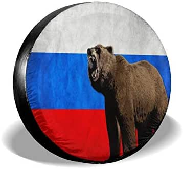 LinLinLin Russian Bear Flag Spare Tire Cover Waterproof Dust-Proof Adjustable Wheel Protection Covers Sunscreen Corrosion for Jeep Trailer RV SUV Truck and Many Vehicles