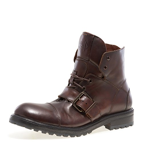 Jump Newyork Men's Brake Strap and Buckle Lace-up Motorcycle Boot Brown 9 D US ()