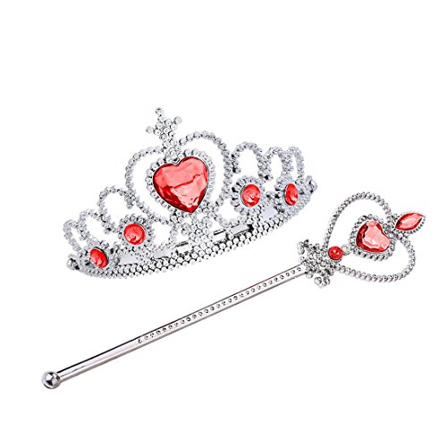 Girls Red Heart Princess Costumes (Jeassi Princess Crown Tiara and Wand Set – Silver Heart Jewel (Red, 3 diamonds))
