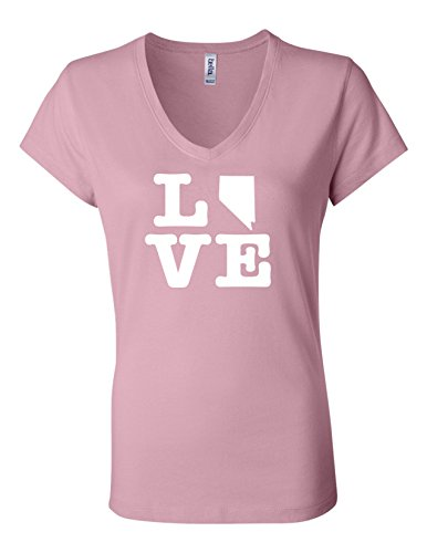 Nevada Love 6005 Womens Premium V-Neck T-Shirt Humorous T Pink - Casino Nevada Laughlin