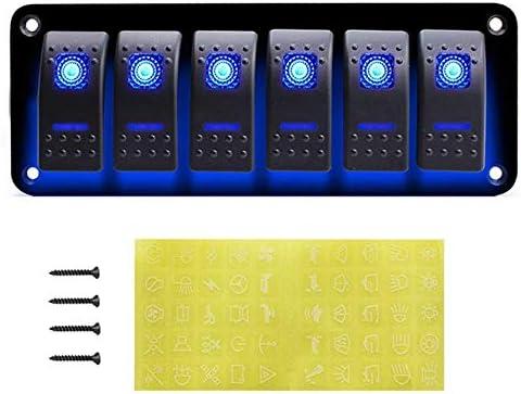 L.P.L ユニバーサル6ギャングスイッチパネルヒューズサーキットブレーカ/過負荷保護防水RVヨットボート車のライトのON/OFF (Color : Blue 6 Gang, Size : フリー)