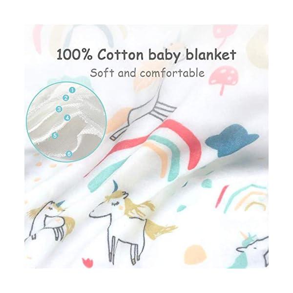 Caiery Copertine in Mussola/Mussole Neonato 110CMx110CM /Asciugamani Bimbo/Baby Bath Towel, 100% Mussola Cotone… 3