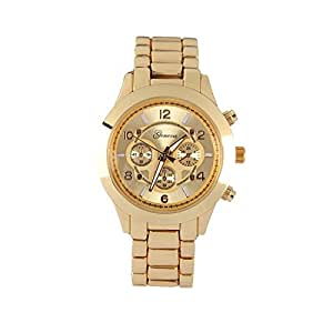 Geneva Platinum Large Face Faux Chronograph Boyfriend Watch-Gold