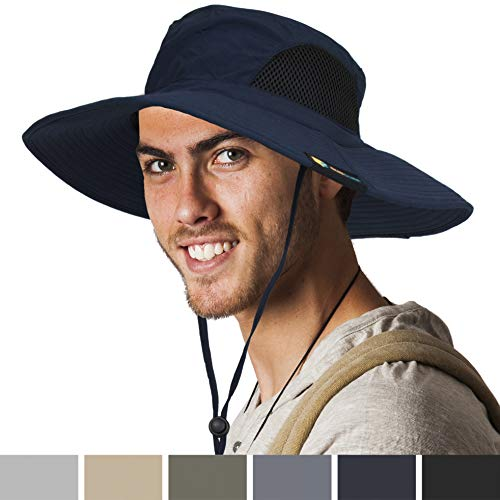 Rei Sun Hat - SUN CUBE Premium Boonie Hat | Wide Brim Adjustable Chin Strap | Outdoor Fishing, Hiking, Safari, Summer Bucket Hat | UPF 50+ Sun Protection | Packable Breathable Men, Women Mesh Hat (Navy)