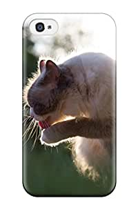 Iphone 4/4s Case Cover - Slim Fit Tpu Protector Shock Absorbent Case (cat)