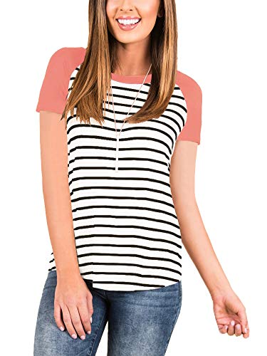 INFITTY Women's Casual Striped Raglan Short Sleeve T Shirt Round Neck Baseball Tunic Tops Blouse Coral Pink Large
