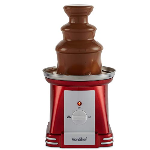 (VonShef Retro Electric Chocolate Fountain Machine - 3 Tier Chocolate Fondue Maker with Quiet Motor for Dessert/Dipping for Parties, Weddings)