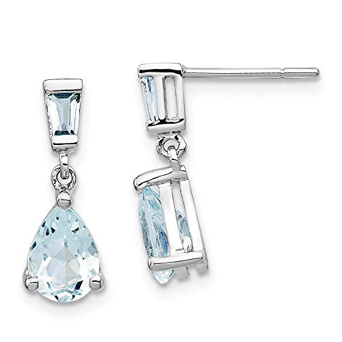 14k White Gold Blue Aquamarine Drop Dangle Chandelier Post Stud Earrings Birthstone March Fine Jewelry Gifts For Women For Her