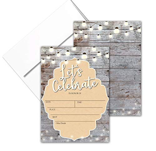 - Let's Celebrate - Rustic Fill-in Party Invitations with Envelopes - 25 Invites & Envelopes - Wedding, Baby Shower, Rehearsal Dinner, Birthday Party (Lets Celebrate)