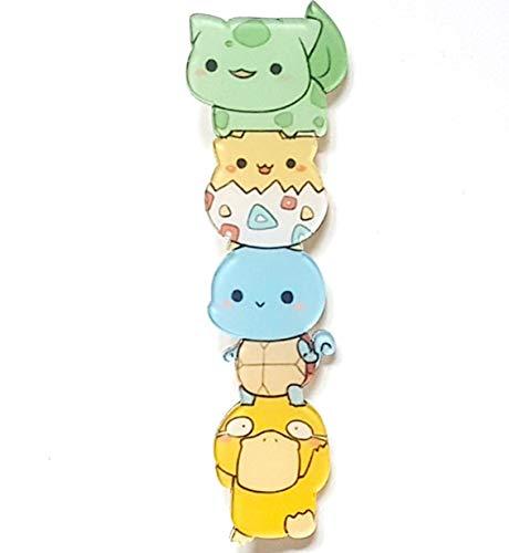 Kawaii Bulbasaur Togepi Squirtle Psyduck Pikachu Backpack Small Cute Pin Stacked Characters Colorful Unique (Kawaii Pins)