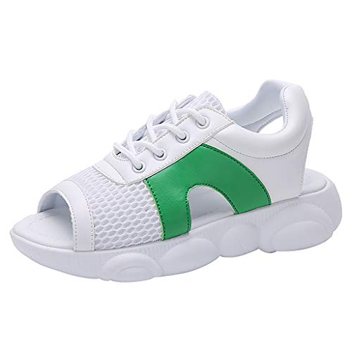 SUNyongsh Women Lace-up Sport Shoes Walking Running Lace Up Peep Toe Comfort Casual Shoes Sports Sandals Green