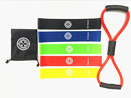 Exercise Resistance 5 labeled Loop Bands plus bonus cord band with a carry bag