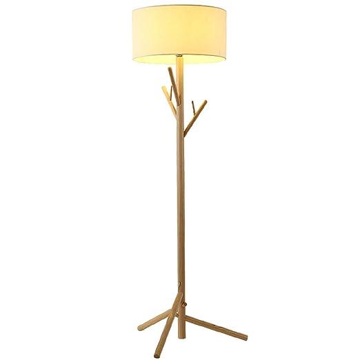 LY-KLD Moderna lámpara de pie de Madera Maciza con Perchero ...