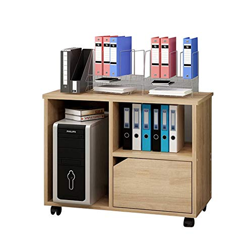 - Whthteey Mobile Lateral Filing Cabinet Wooden Printer Stand with Open Storage Organizer Shelves for Home Office Bedroom (Burlywood)