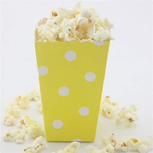 Xiaogongju 12Pcs Multi Color/Pattern Paper Popcorn Boxes Halloween Party Mini Kids Gift Candy Buffet Favor Snack Treat Box Cartons Containe Dots -
