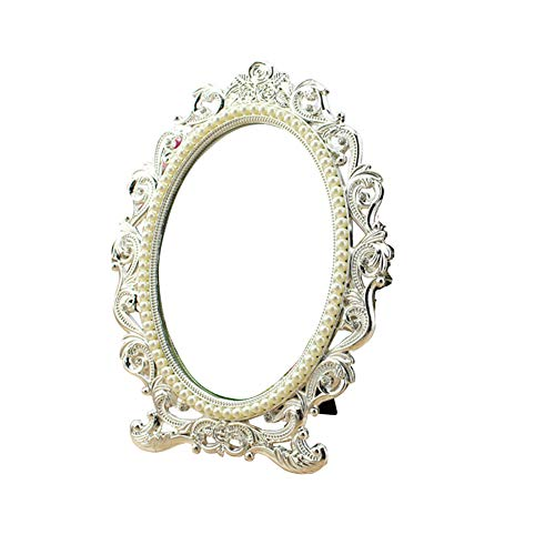 - QWQ69 Desktop Makeup Mirror European Style Vintage Mirror Princess Makeup Mirror Marry Gift HD Imaging Bronze Double-Sided Mirror