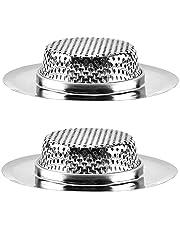 Dolity Pacote com 2 coadores de pia de cozinha, filtro de drenagem de pia de aço inoxidável antientupimento, filtro de drenagem de cesta perfurado para a maioria dos ralos de pia