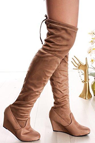 Lolli Couture Per Sempre Allacciati In Ecopelle Lacci Lunghi Stile Da Combattimento Con Stivali Alti Al Ginocchio Sul Tallone Taupe-allie-48